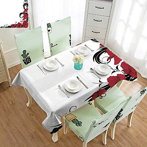 DILITECK Stain-Resistant Tablecloth Art Nouveau Poppy Bouquet Branches Romantic Pastoral Idyllic Meadow Blossom Vintage Soft and Smooth Surface W60 xL84 Black Ruby White (Nouveau Ruby Charm)