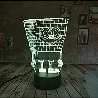 3d Led Lámpara De Ilusión Óptica Dropship Lindo Esponja Esponja ...