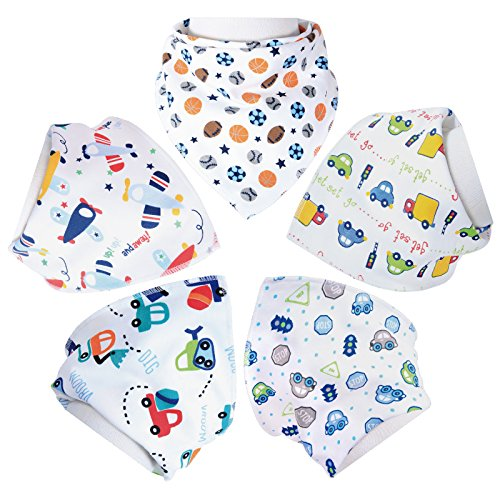 Aivedo Baby Bandana Drool Bibs for Boys 5- Pack with Snaps -Soft Absorbent Cotton - Cute Burp Cloths for Drooling,Feeding and Teething Baby Boys