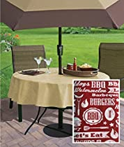 "Low and Slow Barbecue Casual Print Indoor/Outdoor Flannel Backed Vinyl Tablecloth, 70"" Zippered Umbrella Round, Red"