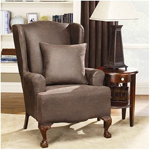 Elegant Sure Fit Stretch Faux Leather   Wing Chair Slipcover, Brown (SF37324)