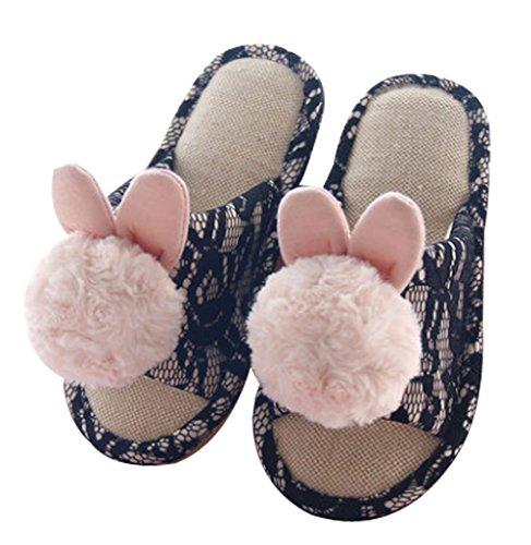 Pantofole Da Donna Cattior Ciabattine Pantofole Da Camera Nere