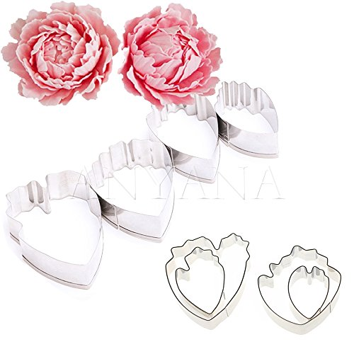 (Anyana Peony flower cutters set of 8pcs gum paste Leaf Cutter Set sugar paste Petal Cookie Cutter Decoration Mold Fondant Sugarcraft Flower Making Tool for Wedding,Birthday Cake)