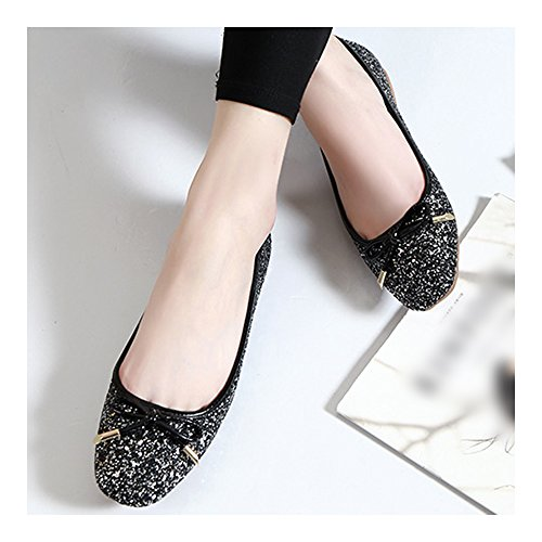 39 Shoes Flat Square Dazzling Thin black Bowknot Metal Paillette FwTqSPx4B8
