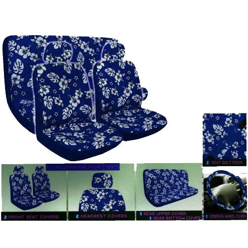 A Set of 8 Piece Hawaiian Floral Print Seat Cover Set - 2 Hibiscus Blue Low Back Front Bucket Seat Cover, 2 Hibiscus Blue Separate Headrest Cover, 1 Hibiscus Blue Bench, 1 Hibiscus Blue Steering Wheel Cover, and 2 Hibiscus Blue Shoulder Pad