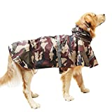 okdeals Pet Raincoat Leisure Waterproof Clothes Lightweight Camouflage Rain Jacket Poncho with Strip Reflective For Large Medium Dog (Brown XXL)