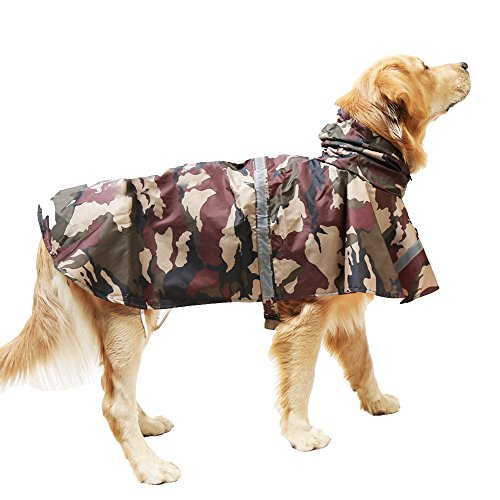 okdeals Pet Raincoat Leisure Waterproof Clothes Lightweight Camouflage Rain Jacket Poncho with Strip Reflective For Large Medium Dog (Brown XXL) by okdeals