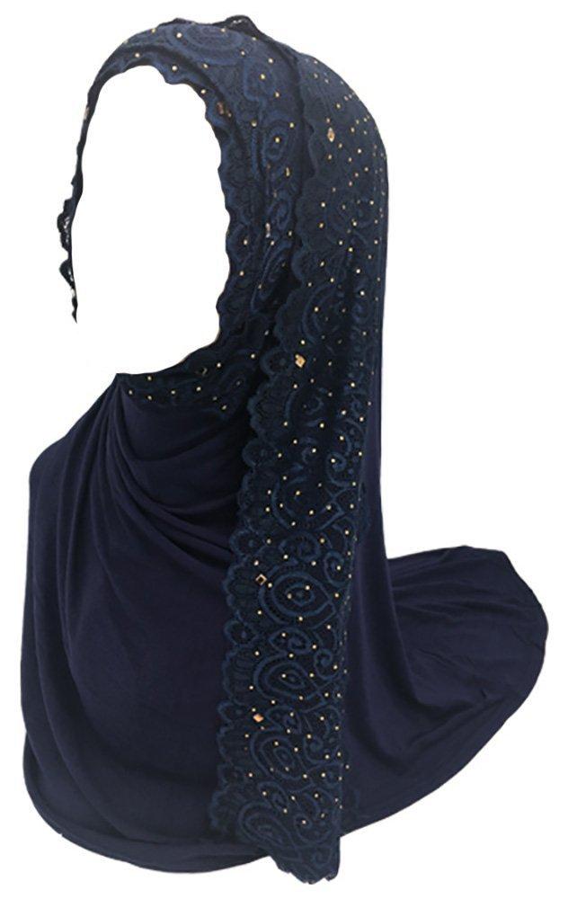 Ababalaya Women's Muslim Islamic Soft Breathable Rhinestones Lace Wedding Hijab 67×30 inch,Navy Blue