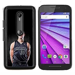 Miami 31 Baloncesto- Metal de aluminio y de plástico duro Caja del teléfono - Negro - Motorola Moto G (3rd gen) / G3