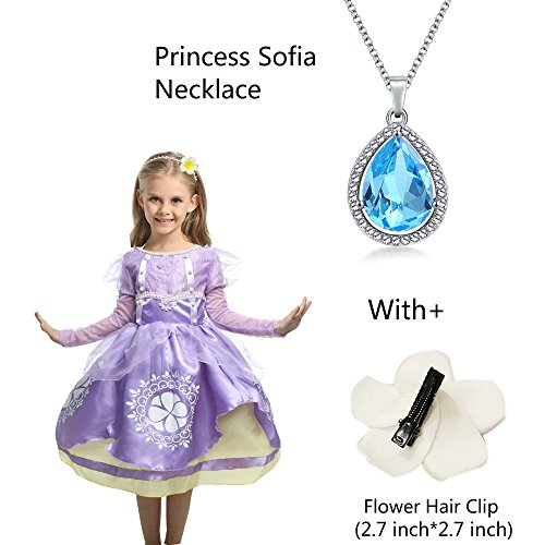 Princess Sofia Ncklace Teardrop Light Blue Pendant Necklace Fashion Jewelry Gift for Girls,Sofia the First Amulet by LEECCO (Amulet Necklace)