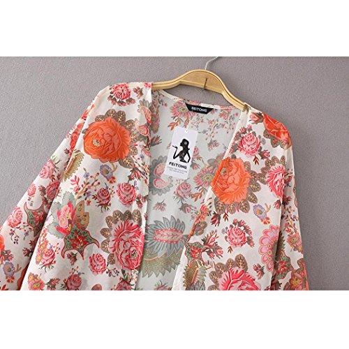 Bohme Haut Chale Top Fille Imprim longues Long Fleur Chemisier Long Manteau Kimono Femme Femme Manches Long Femme Plage Grande de Taille Blanc Basique Loose Veste Originaux Longra t nwxC10a6Cq