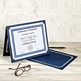 """Classic Blue & Silver Certificate Folders - Pack of 25, Linen Cover 80 lb. Stock, Folded, Die-Cut Corners, for Office, Business Awards, Graduation, School Diploma Holder, 9-1/2"""" x"""