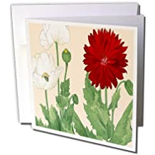Poppy Flowers in Deep Red and White Japanese Woodblock - Greeting Cards, 6 x 6 inches, set of 12 (gc_171386_2)