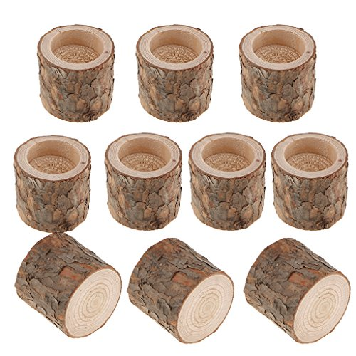 Baoblaze PACK 10PCS Tree Stump Candle Holder Tealight Candle Stand Candlestick for Home Wedding Party Valentine's Day Decoration