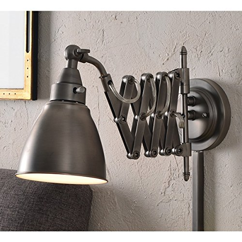 Design Craft 60 W Sconce Ambrose Antique Metal Nickel Swing Arm - Twin Sconce Arm