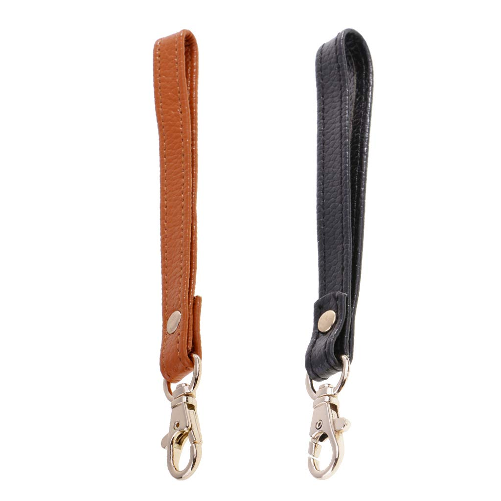 Fenteer 2X Real Leather Replacement Wrist Strap Purse Wristlet Handle Repair Supplies