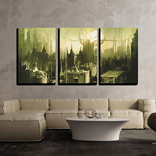 Illustration Painting Showing Skylines and Sunset of Dark City x3 Panels