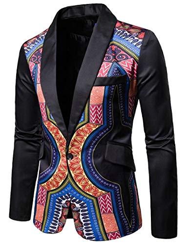 XQS Men's Africa Dashiki Print One Button Notched Lapel Blazer Suit Jacket Black M by XQS