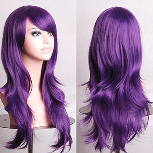 Anime Cosplay Synthetic Wig 11 Colors Japanese Kanekalon Heat Resistant Fiber Full Wig with Bangs Long Layered Curly Wavy Vogue 23'' / 58cm for Women Girls Lady Fashion and Beauty (Beauty Queen Fancy Dress)