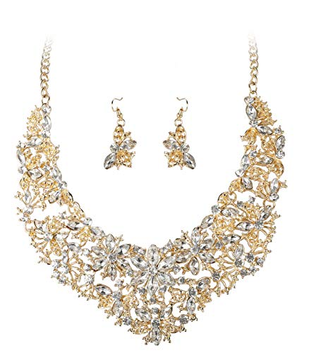 (ORAZIO Rhinestone Statement Necklace Earring Set Women Girls Bridal Bridesmaid Jewelry Sets Wedding Gold Tone)