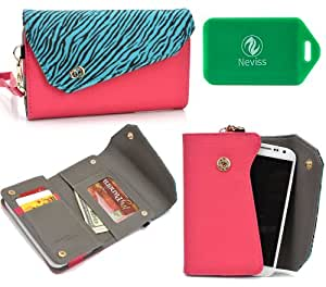 Wallet smart phone holder BONUS cross body chain strap included- Teal Blue/ Pink- Universal fit for Motorola RAZR D3