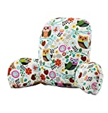 FamilyDream Bed Reading Waist Pillow Back Cushion with Arm Support Owl Cat Tree Chair Car Seat Sofa Rest Lumbar Cushion Cotton Linen Fabric (Color #01)