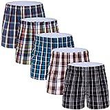 5-Pack Men's Colorful Woven Boxer Underwear 100% Cotton Premium Quality Shorts T1-Large