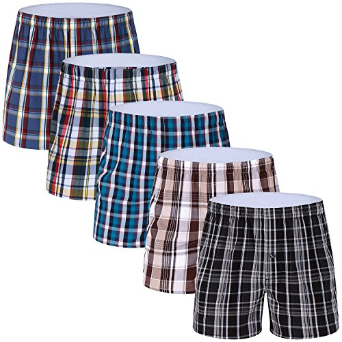 (5-Pack Men's Colorful Woven Boxer Underwear 100% Cotton Premium Quality Shorts T1-Small)
