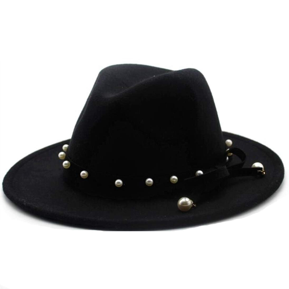 Mens Woolen Wide Brim Fedora Hats Classic Vintage Trilby Hat Jazz Cap with Pearl Bowknot Ribbon