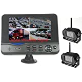 "4Ucam TWO Digital Wireless CCD Camera + 7"" Monitor Quad-view Split screen for Bus, RV, Trailer, Motor Home, 5th Wheels and Trucks Backup or Rear View"