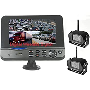 "4Ucam TWO Digital Wireless Camera + 7"" Monitor Quad-view Split screen for Bus, RV, Trailer, Motor Home, 5th Wheels and Trucks Backup or Rear View"
