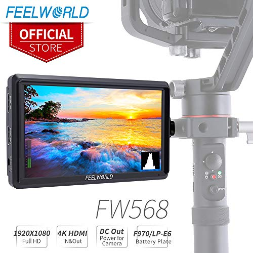 FEELWORLD FW568 5.5 inch DSLR Camera Field Monitor Video Peaking Focus Assist Small Full HD 1920×1080 IPS with 4K HDMI 8.4V DC Input Output Include Tilt Arm