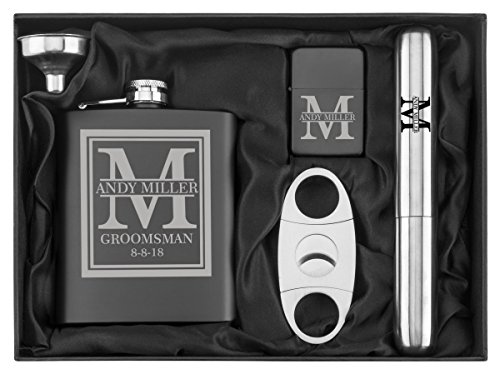 Custom Initial Deluxe Engraved 7 oz Flask Funnel Cigar Cutter Lighter Stainless Steel Gift Box Set - Personalized Flask Cigar