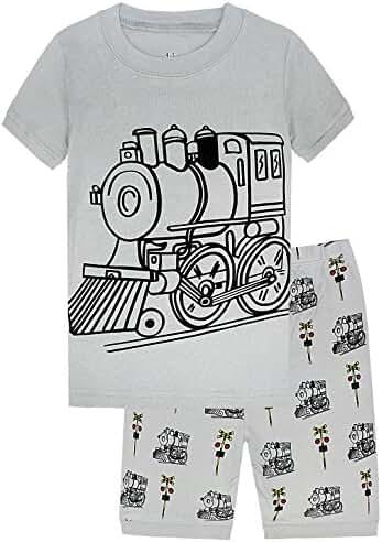 Boys Pajamas Dinosaur 100% Cotton Short Clothes Toddler Kids Pjs Sleepwear Pnat Set
