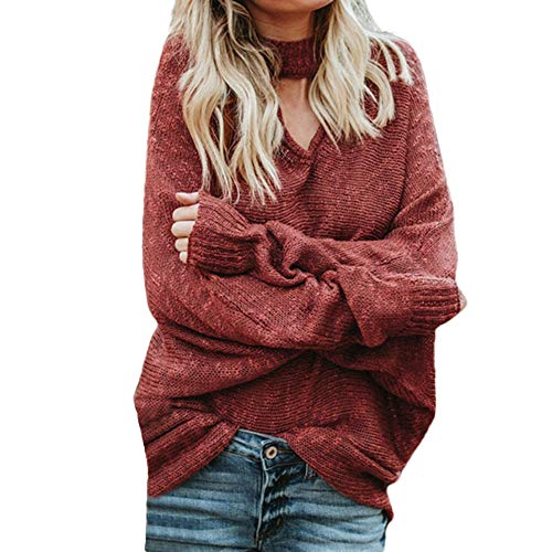 Sherostore ♡ Womens Pullover Sweaters Plus Size Cable Knit V Neck Lace Up Batwing Sleeve Fall Jumper Tops Jumper Red