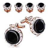 HAWSON Crystal Cuff Links and Studs Set for Mens Tuxedo Shrit Wedding Accessories