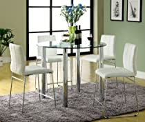 Furniture of America Clarks 5-Piece Counter Height Dining Set with White Chairs