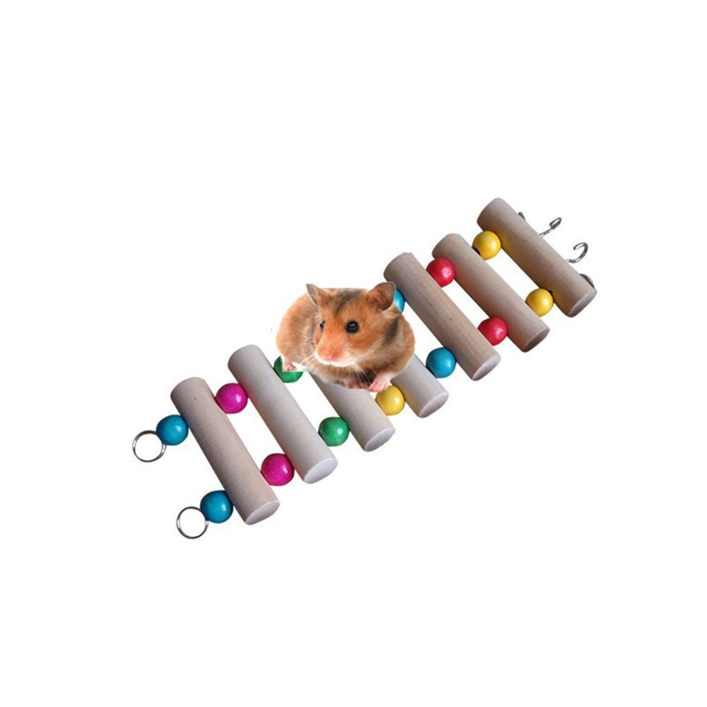 Wooden Hamster Ladder Swing Chewing Shelf Perch Toy for Pet Syrian Hamster Gerbil Rat Small Animal Toy Cage Toy