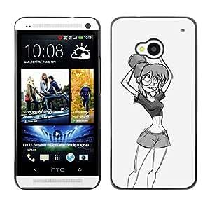 TopCaseStore / la caja del caucho duro de la cubierta de protección de la piel - Sketch Girl Woman - HTC One M7