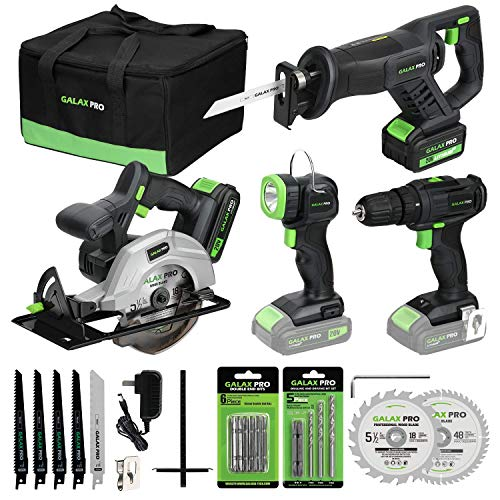 "GALAX PRO 20V Lithium Ion Cordless 4-Tool Combo Kit, 3/8"" Dill Driver, Reciprocating Saw, 5-1/2"" Circular Saw and Work Light, Two Lithium Batteries(1.3A+3A) and One Charger, Carrying Bag Included"