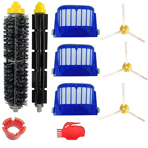 DLD Accessory for Irobot Roomba 600 610 620 650 Series Vacuum Cleaner Replacement Part Kit - Includes 3 Pack Filter, Side Brush, and 1 Pack Bristle Brush and Flexible Beater Brush,1 Pack Cleaning Tool