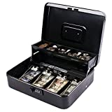 Combination Lock Large Cash Box with Money Tray and Lock, Metal Money Box Safe, Cash Register