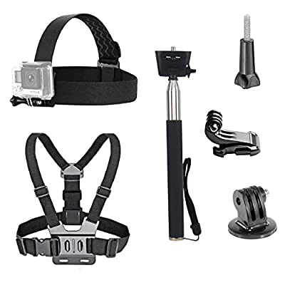VVHOOY 3 in 1 Universal Waterproof Action Camera Accessories Bundle Kit - Head Strap Mount/Chest Harness/Selfie stick for Sports Action Camera