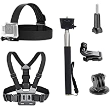 VVHOOY 3 in 1 Universal Waterproof Action Camera Accessories Bundle Kit - Head Strap Mount/Chest Harness/Selfie stick for Gopro Hero 6 5/AKASO EK7000/APEMAN/ODRVM/Crosstour Action Camera and More