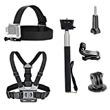 VVHOOY 3 in 1 Universal Waterproof Action Camera Accessories Bundle Kit - Head Strap Mount/Chest Harness/Selfie Stick Compatible for Gopro Hero 6 5/AKASO EK7000/APEMAN/ODRVM/Crosstour Action Camera