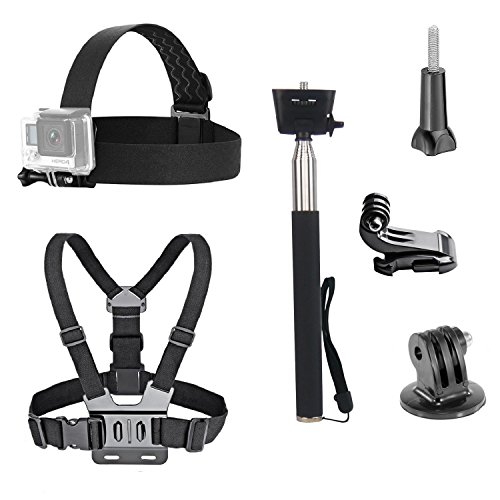 VVHOOY 3 in 1 Universal Waterproof Action Camera Accessories Bundle Kit - Head Strap Mount/Chest Harness/Selfie stick for (Action Camera Chest Mount)