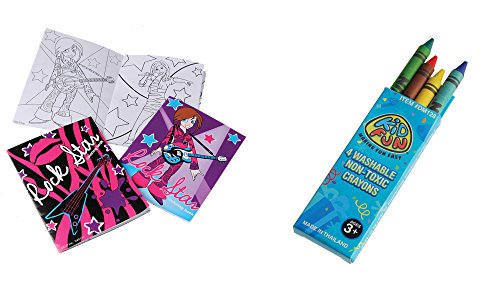 USToy 24 Piece Rockstar Coloring Book & Crayons Bundle ()