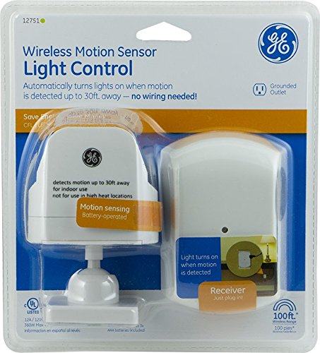 GE 12751 Wireless Motion-Sensing Light Control Transmitter with 1 Indoor Grounded Outlet Receiver (White)