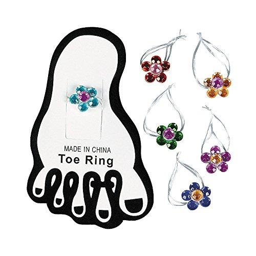 Stretchy Flower Toe Ring Dozen