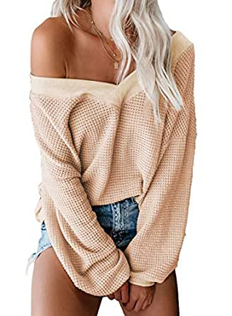 Aleumdr Women's V Neck Long Sleeve Waffle Knit Pullover Jumper Tops Fashion Off The Shoulder Solid Sweater Apricot Small 4 6